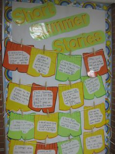 "Short Summer Stories Bulletin Board--love this for the first week back--can change expectations for ""short"" in different grades."