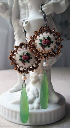 'bloom' vintage assemblage earrings with vintage petit point findings by The French Circus, $54.00