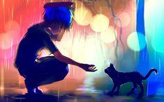 El muchacho del animado con el gato Fondo de pantalla Imágenes 3D Full HD de escritorio móvil libre # 6266771891008 fondo de pantalla