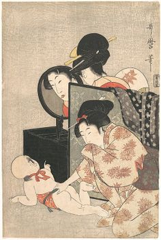 Mother and Child  Kitagawa Utamaro  (Japanese, 1753–1806)  Period: Edo period (1615–1868) Date: ca. 1793 Culture: Japan Medium: Polychrome woodblock print; ink and color on paper