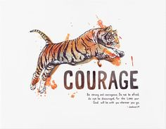 """Be strong and courageous. Do not be afraid; do not be discouraged, for the Lord your God will be with your wherever you go."" - Joshua 1:9 Bible verse art print created from an original watercolor ill"