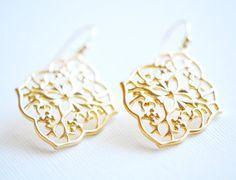 Gold Art Deco Flower Earrings  Sterling by AldariJewelryDesigns
