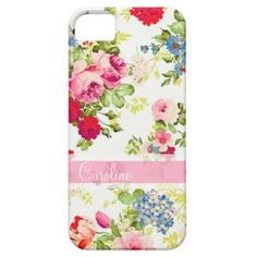 Girly Elegant Vintage Floral Personalized iPhone 5 Cases by GirlyTemplate