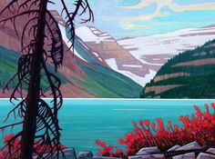 Lake Louise in September ~ by Nicholas Bott, Canadian Artist Canadian Painters, Canadian Artists, Abstract Landscape, Landscape Paintings, Landscapes, Modern Impressionism, Mountain Paintings, Tree Art, Painting Inspiration