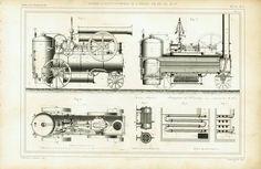 1863 Locomotive Gravure Ancienne Plan Dessin industriel Brevet