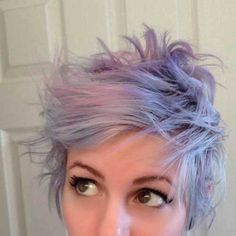 15 New Cutting-Edge Pixie Haircuts: #5. Pastel Colored Pixie Cut Hairstyle