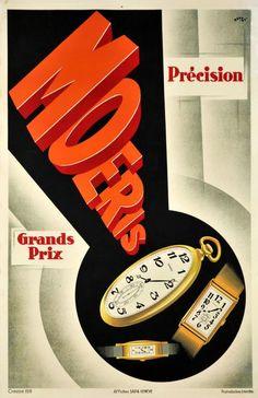 Definitive Plakatstil Swiss watch poster with Art Deco influence; Geneva, 1931  http://goo.gl/YzNPTs