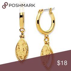 Nine West Vintage American Metals Drop Earrings Metals in the Mix gold toned drop hoop earrings. NWT Nine West Jewelry Earrings