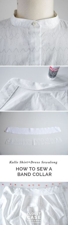 Easy tutorial to sew a  band collar or stand collar // Closet Case Patterns https://closetcasepatterns.com/sewing-band-collar-kalle-sewalong/