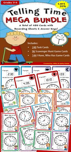 Save 30% on this Telling Time MEGA BUNDLE! It has a total of 480 cards to help students practice and/or gain mastery on how to tell time appropriately (to the Hour, Half-hour, Quarter-hour, to Five Minutes, and to the Minute). $