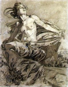 Soleil, a study by Alphonse Mucha for Cocorico magazine, April 1899. Ink & wash on paper, 40.8 x 32 cm | Alphonse Mucha Estate ©