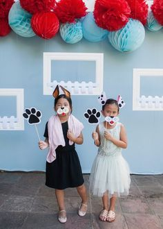 Photo booth fun from a Beanie Boos Pet Adoption Themed Birthday Party