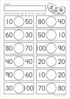 Kindergarten Valentine's Day Math and Literacy Worksheets & Activities No Prep. A page from the unit: greater than, less then, equal to