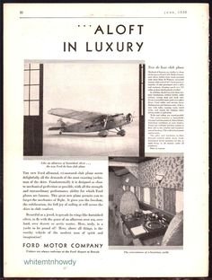1930 FORD de luxe Club Plane Vintage Aircraft Antique Aviation Flying AD