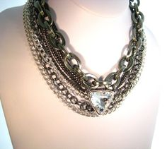 Chunky Chain and Large Jewel Rhinestone by zoeJaneJewels1 on Etsy, $65.00