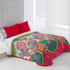 Colcha Bouti de EYSA en tonos coral, verde, blanco, fucsia... ideal para decorar las habitaciones más juveniles!