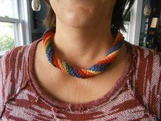 Gay Pride Necklace Handmade Crochet by TAPCrochet on Etsy