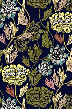 Joy Blooms by susan_polston - Hand illustrated floral design in yellow, pink, teal, emerald, and navy blue on fabric, wallpaper, and gift wrap. Beautiful intricate floral design in a block print style.