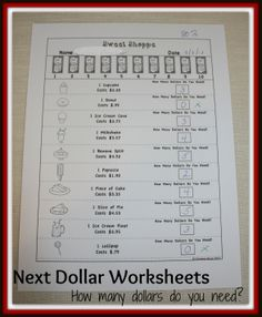 2 free worksheets in the preview. The product package contains a total of 10 black and white worksheets. These worksheets are designed so that the students use the Next Dollar Up strategy to determine how many dollar bills are needed to buy a product. $3