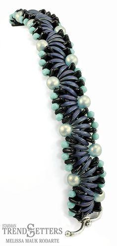 Winding Current Bracelet featuring CzechMates 2-Hole Crescent beads by Melissa Mauk Rodarte