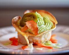 "Chicken Enchilada ""Cupcake"" with creamy guacamole as the icing!"