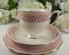 Queen Anne Teacup, Saucer , Plate Pink and Gold Excellent