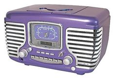Tri Sigma purple retro radio, Sally Gaugert