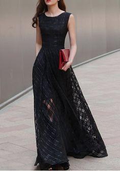 Vestido sin mangas piso de longitud de cuello redondo elegante para las mujeres