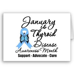 Thyroid Disease Awareness - Light Blue Ribbon - January