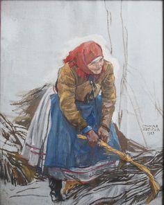 Othmar Růžička: Moravští Chorváti - Sběračka dříví (Moravian Croats), 1925
