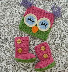 Owl set hoot hoot!!  Crocheted Boots and hat.  www.proudchild.com