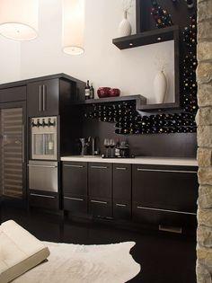 Espresso Finish | Wood Cabinetry | Bottle Display | Wine Wall | Wine Cellar | Custom Design | Home Ideas