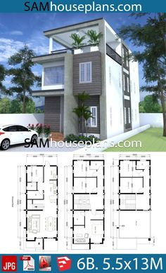 House Plans with 6 Bedrooms - Sam House Plans Mini House Plans, Narrow Lot House Plans, Model House Plan, Simple House Plans, Beach House Plans, Simple House Design, Family House Plans, Dream House Plans, House Floor Plans