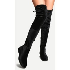 Black Faux Suede Side Zipper Tie Back Over The Knee Boots ($48) ❤ liked on Polyvore featuring shoes, boots, black, black thigh-high boots, chunky black boots, chunky-heel boots, black low heel boots and above the knee boots
