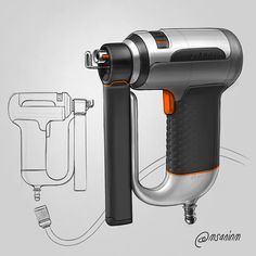 Really like how the color details pop up in this Nail Gun. My entry for the Really like how the color details pop up in this Nail Gun. My entry for the ____ Tool Design, My Design, Romantic Doctor, Wall Mounted Desk, Industrial Design Sketch, Nail Gun, Sketch A Day, Design Language, Cool Sketches