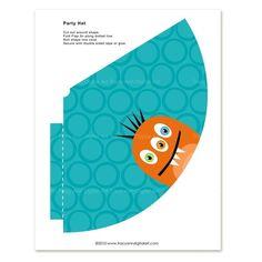 Printable monster party hats @TracyAnnDigitalArt.etsy