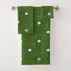 Green Golfing Dad Monogram Golf Ball Towel Set - patterns pattern special unique design gift idea diy