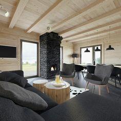 W: - 081 architekci Wooden House, Log Homes, Art Decor, Home Decor, Living Room, Interior Design, Architecture, Table, Inspiration