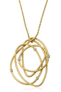 Riccova 14k Gold Plated Zirconia Speckled Swirl Pendant Necklace $88.00
