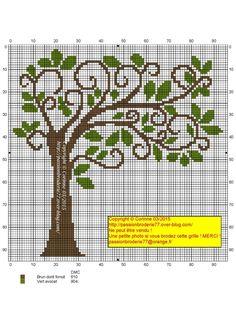 Arbre penché tree cross stitch point de croix