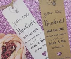Bookmark Save The Date / Evening Card Wedding Invitation Personalised  #GreenFoxy