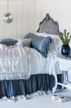 Romantic Ruffled Silk Bedding - Bella Notte Valentina, 18 Colors. http://www.jbrulee.com/cat-bella-notte-linens-bedding.cfm