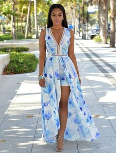 Chiffon Slim Print V-neck Sleeveless Long Dress