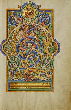 Initial A: David and Companion Musicians, an illumination from a German manuscript, c.1170s; King David can be identified by his symbolic attributes: a crown and harp. (The J Paul Getty Museum)