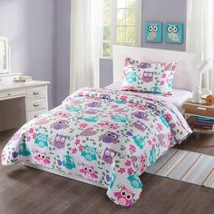 MarCielo 2 Piece Kids Bedspread Quilts Set Throw Blanket for Teens Boys Girls Bed Printed Bedding Coverlet, Twin Size, Purple Hoot (Twin) Coverlet Bedding, Comforter Sets, Comforters, Girls Bedspreads, Toddler Comforter, King Comforter, Duvet, Teen Boy Bedding, Teen Bedroom