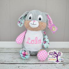 Pink Bunny Harlequin Stuffed Animal Cubbie