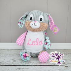 Pink Bunny Harlequin Stuffed Animal Cubbie