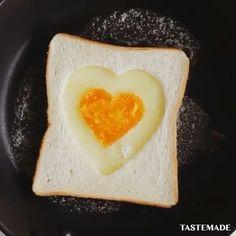 heart eggs with toast – Home Decoration Tastemade Japan, Egg Toast, Breakfast On The Go, Melted Cheese, Creative Food, Japanese Food, Food Art, Food Videos, Eggs