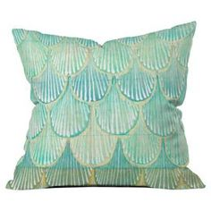 Buy Throw Pillow with Turquoise Scallops designed by Cori Dantini. One of many amazing home décor accessories items available at Deny Designs.