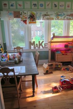 I love this artsy kid space.